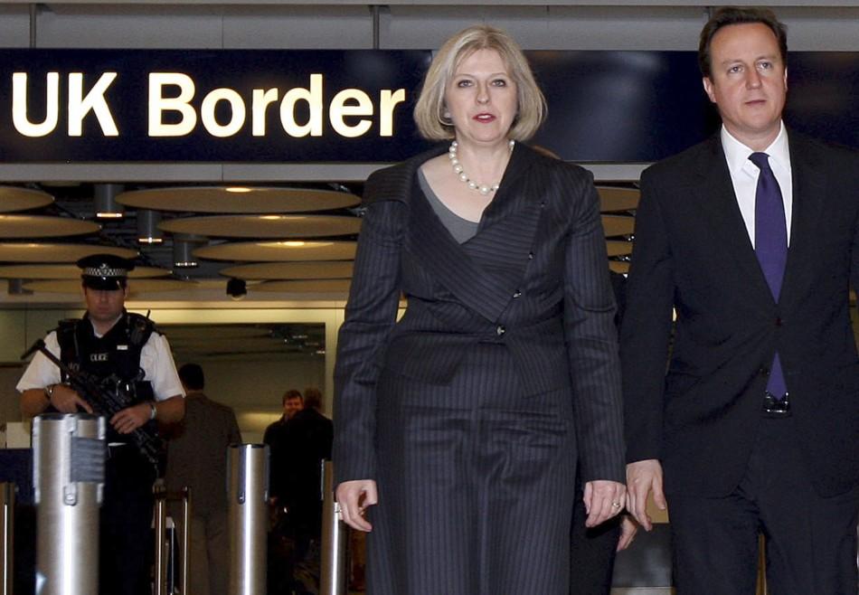 Home secretary Teresa May and prime minister David Cameron