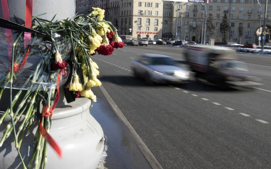 Flowers for Moscow accident victims
