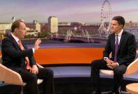 Andrew Marr, left, interviews David Miliband