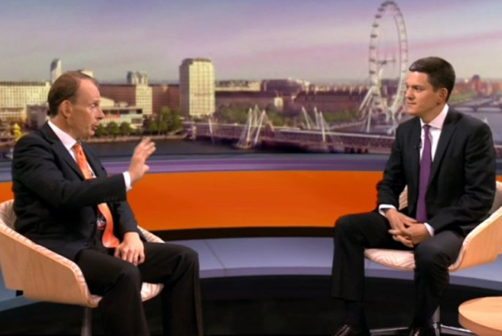 Andrew Marr, left, interviews David Miliband