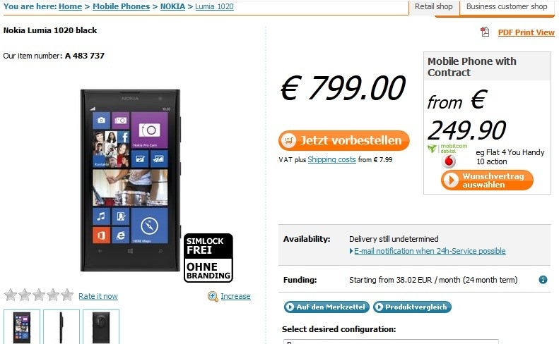 Nokia Lumia 1020 on Pre-Orders at Notebooksbilliger Online store (www.notebooksbilliger.de)
