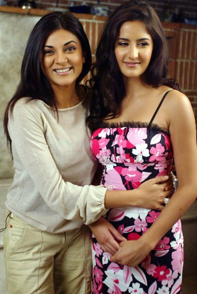 Former Miss Universe Sushmita Sen L and Katrina Kaif pose during a promotional event for their new film Maine Pyar Kyun Kiya Why Did I Fall In Love in Bombay June 23, 2005.