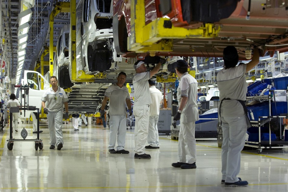 People work at Fiat's Sevelsud plant in Atessa