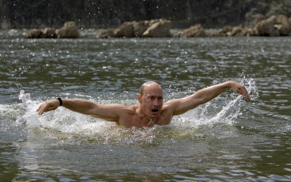 Russia's Prime Minister Vladimir Putin swims in a lake in southern Siberia's Tuva region