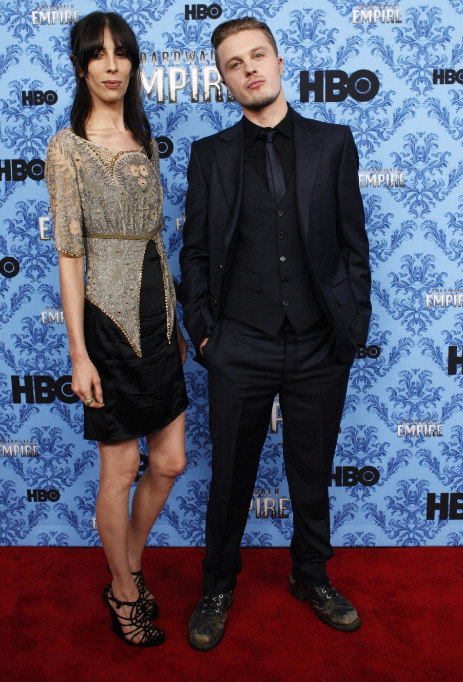 Michael Pitt (R) poses next to his girlfriend, model Jamie Bocher