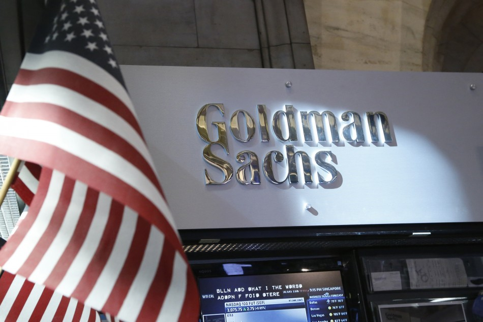 A view of the Goldman Sachs stall on the floor of the New York Stock Exchange.
