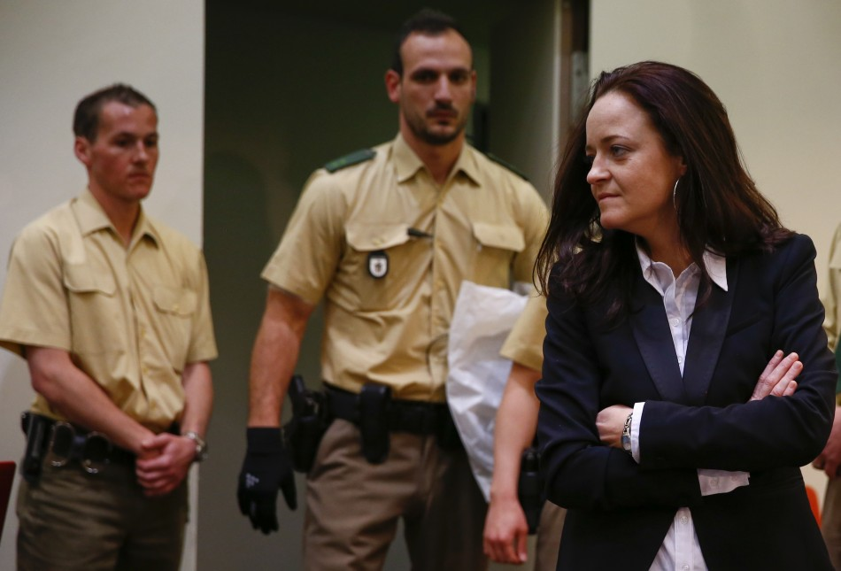 Beate Zschaepe, a member of the neo-Nazi group National Socialist Underground (NSU) stands in the court b