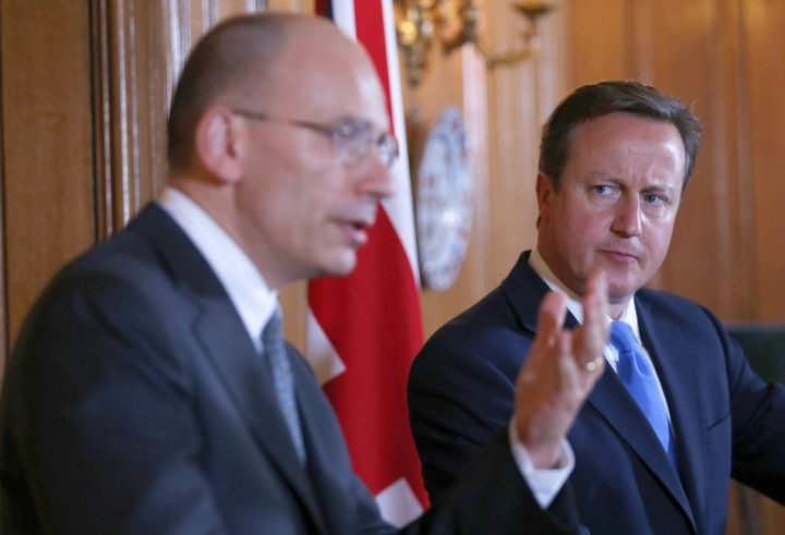 David Cameron and Italy's Prime Minister Enrico Letta (Reuters)