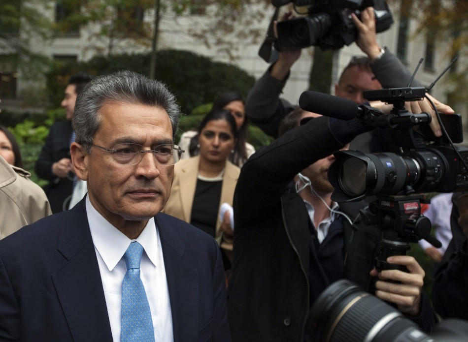 Former Goldman Sachs Group board member Rajat Gupta departs Manhattan Federal Court after being sentenced in New York, October 24, 2012.