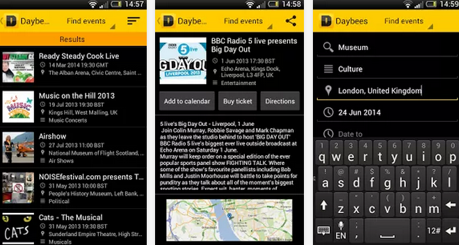best android apps daybees event finder
