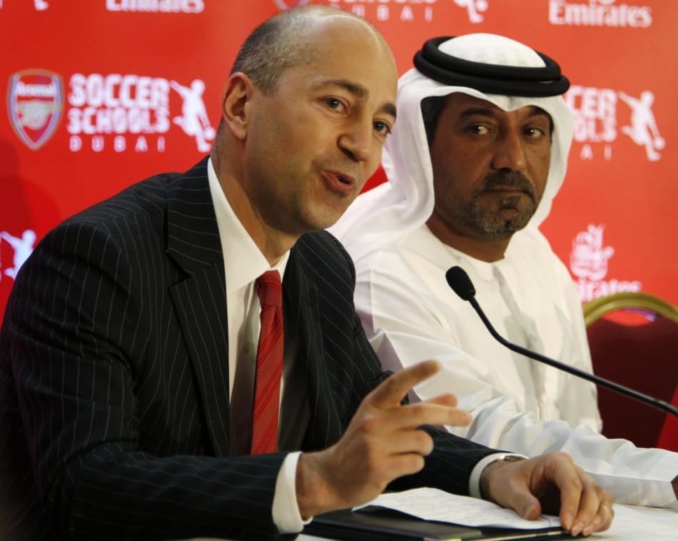Arsenal Chief exective Gazidis (l) Emirates' CEO Sheikh Ahmed bin Saeed al Maktoum