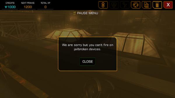 'Deus Ex:  The Fall' Gets 1.0.3 Bug-fix Update for Anti-Jailbreak Code