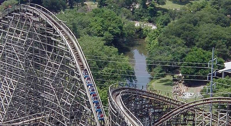 A section of the rollercoaster at Six Flags, Arlington, Texas