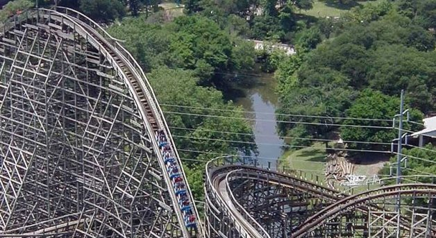 A section of the rollercoaster as Six Flags, Texas