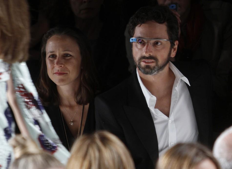 Google co-founder Sergei Brin wearing Google Glass at a New York catwalk show