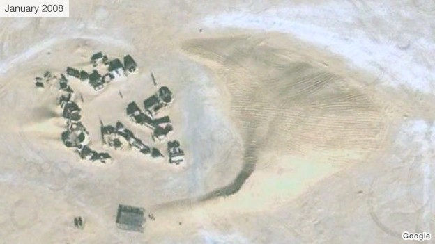 A giant dune encircles a Tunisian Star Wars set