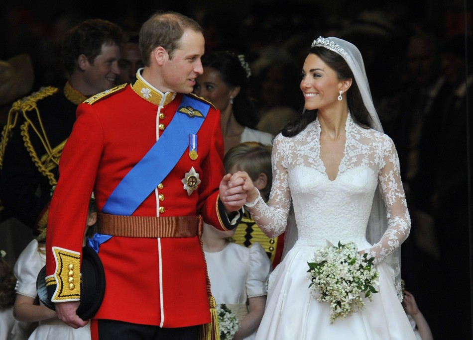 The Duke and Duchess of Cambridge are pictured following their wedding ceremony (Reuters)