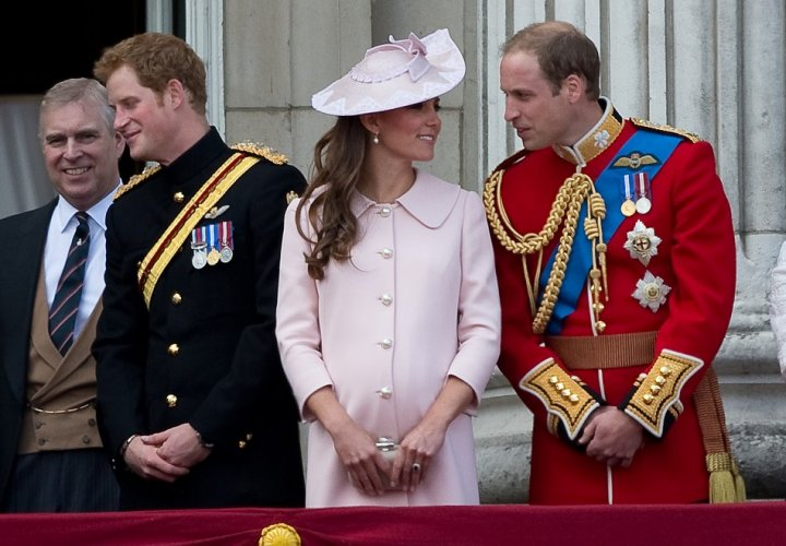 A pregnant Kate attends her final public appearance at the Trooping the Colour ceremony in London (Reuters)