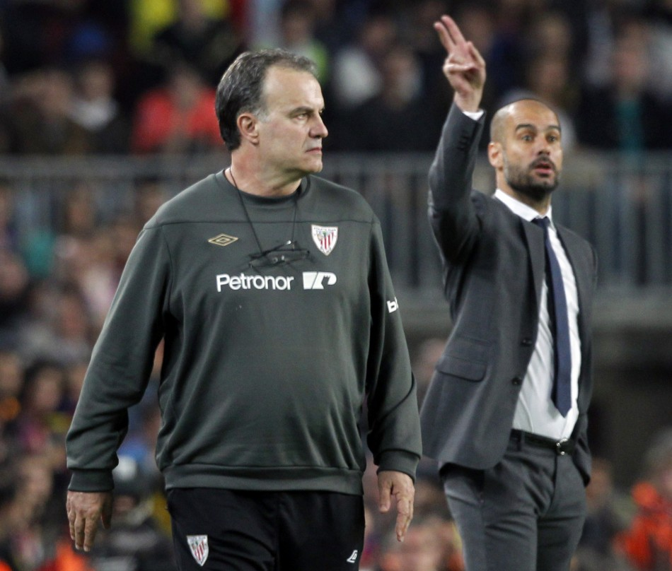 Marcelo Bielsa (L) and Pep Guardiola (R)