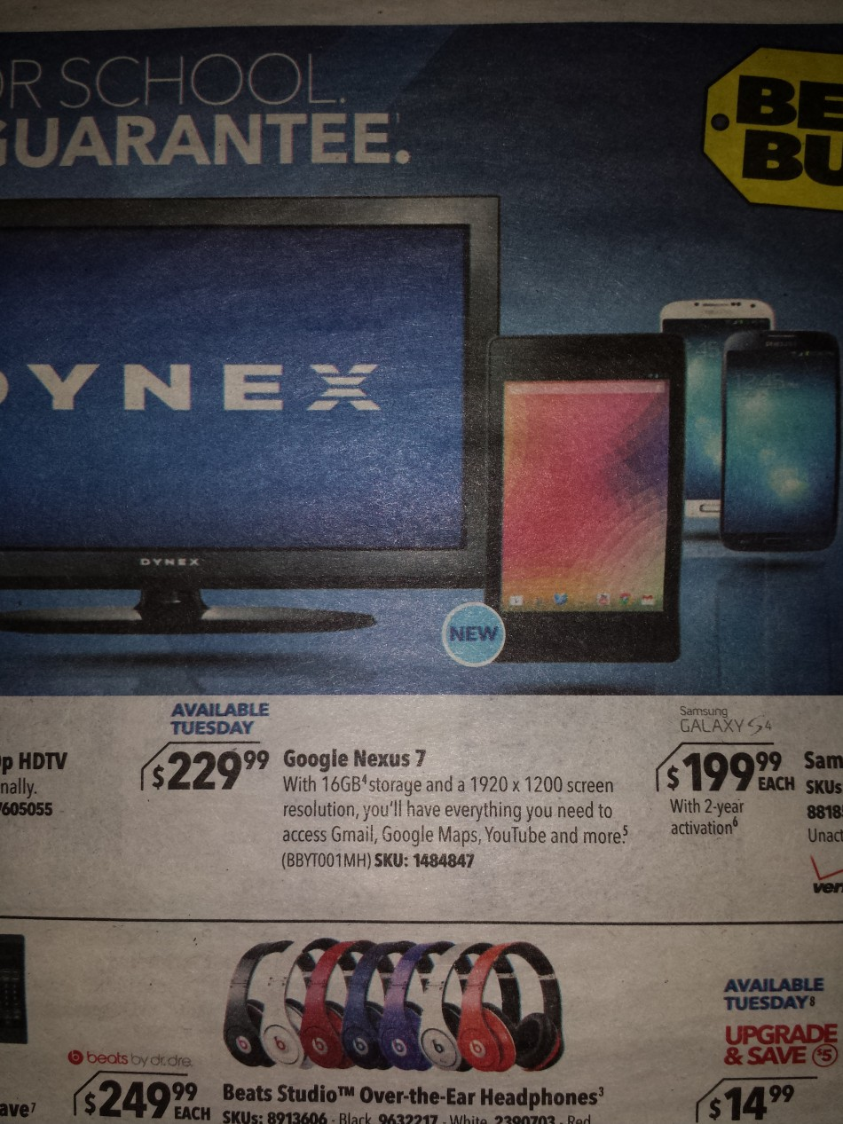 Second Generation Nexus 7: Leaked Best Buy Ad Hints at July Release