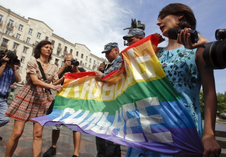 The 'gay propaganda' law received protests across Russia (Reuters)
