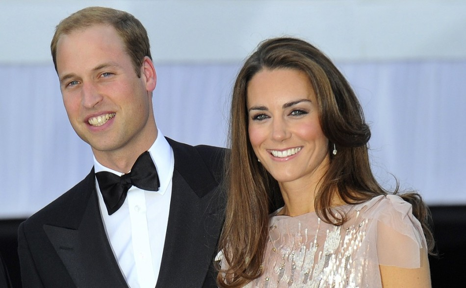 Happy couple: New parents Kate and William