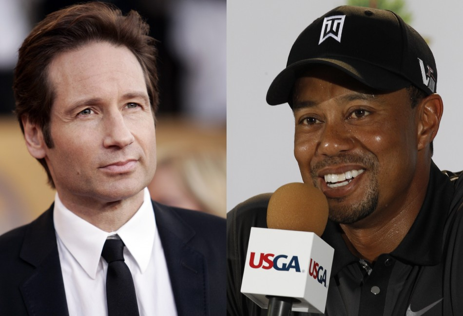 David Duchovny and Tiger Woods both sought treatment for sex addiction (Reuters)