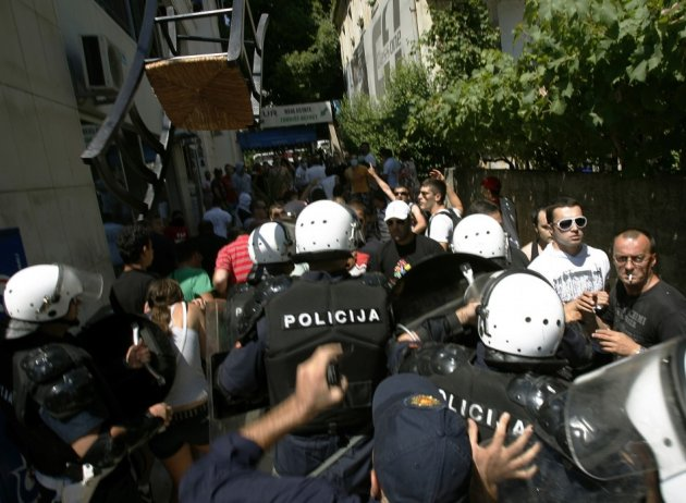 Police clashed with anti-gay protesters in Montenegro  as they tried to disrupt the county's first gay pride (Reuters)