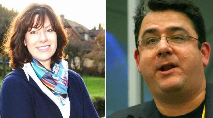 Claire Perry (l) and Paul Staines