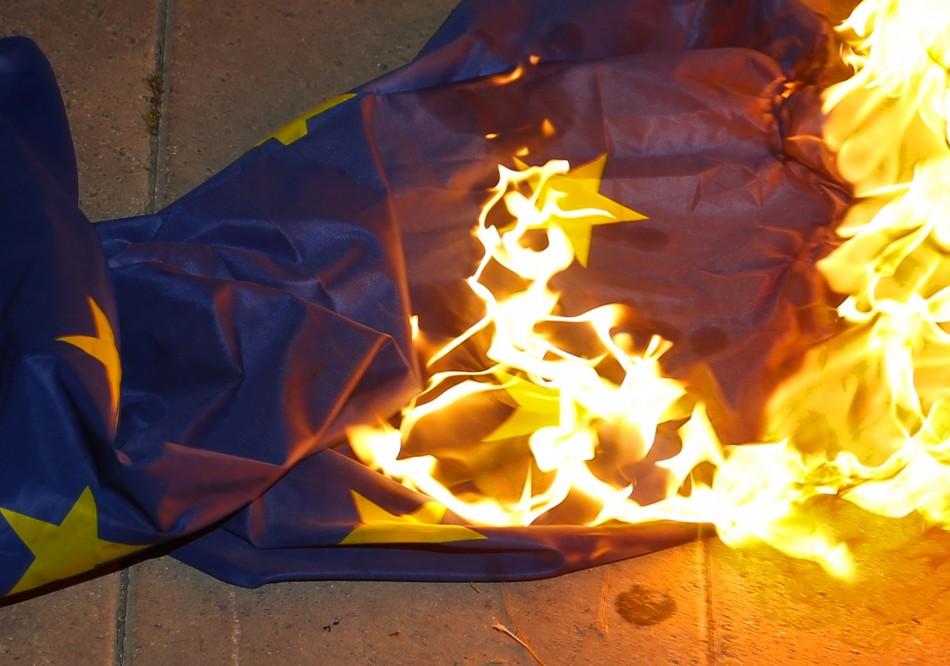 EU flag burning