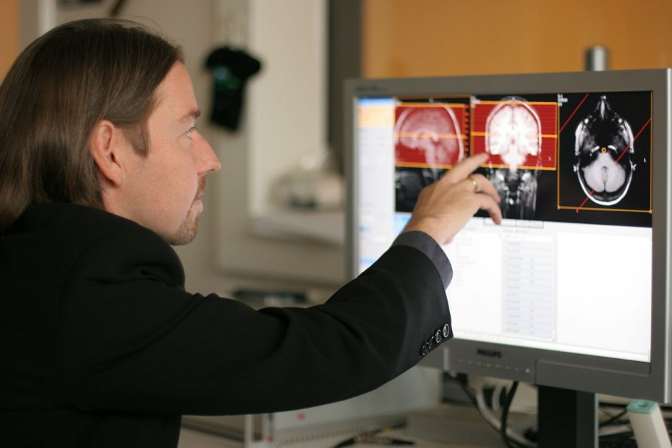 . Christian Keysers performing an fMRI scan
