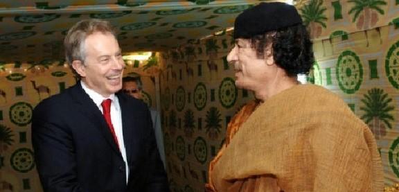 Tony Blair meets Muammar Gaddafi