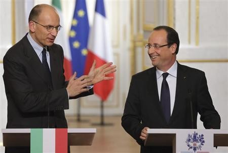 Italy's Enrico Letta with France's Francois Hollande earlier this month (Photo: Reuters)