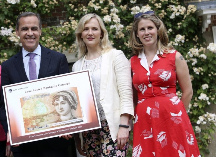Troll victims Stella Creasy (centre) and Caroline Criado-Perez with Bank of england governor Mark Carney
