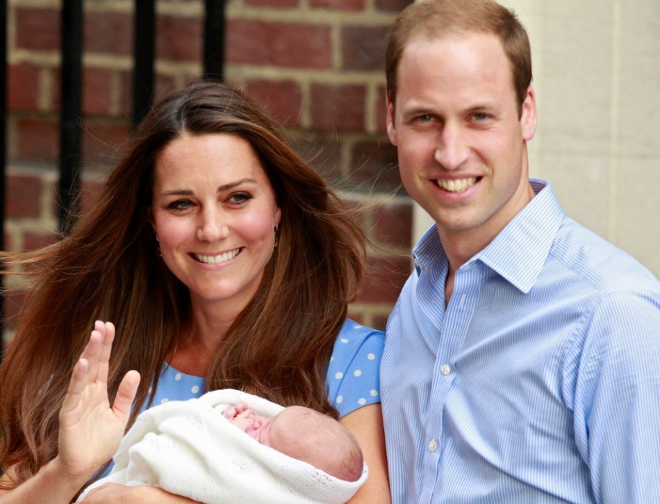 Kate Middleton and Prince William with Prince George Alexander Louis of Cambridge