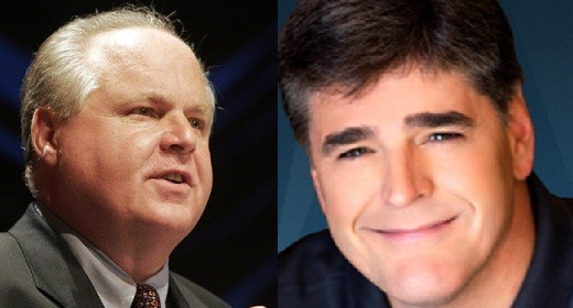 Rush Limbaugh (L) was responding to claims he and Sean Hannity are going to be dropped (Reuters/Fox News)