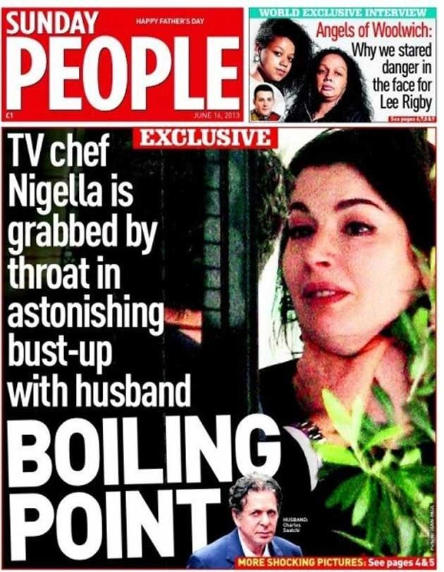 Saatchi has been widely criticised over the alleged choking incident/Sunday People