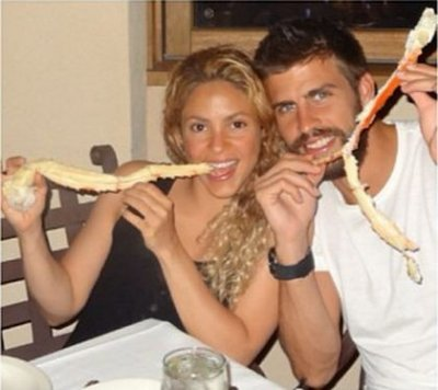 Shakira holidaying at undisclosed location
