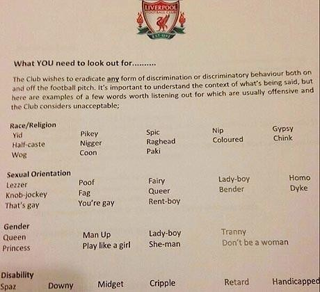 Liverpool's black list of banned words