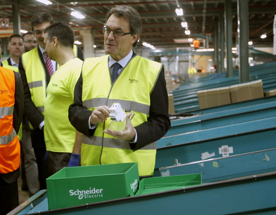 Schneider Electric Chief Operating Officer Julio Rodriguez (not pictured) during the opening of the company's logistics center in Barcelona.