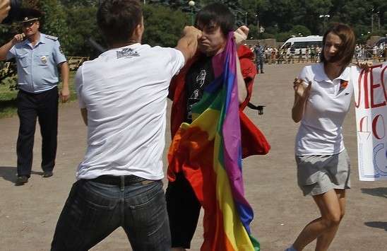 An anti-gay protester clashes with a gay rights activist during a Gay Pride event in St. Petersburg, Russia (Reuters)