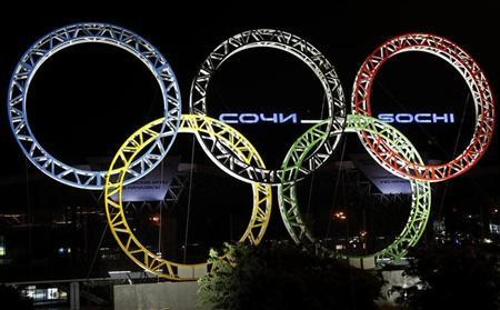 The Olympic rings are seen in front of the airport of Sochi, the host city for the Sochi 2014 Winter Olympics April 22, 2013.