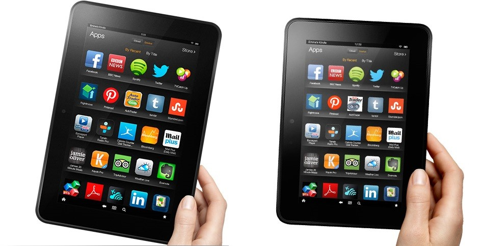 Current-Gen Amazon Kindle Fire HD 8.9 inch version (Left) and 7inch version (Right) (Credit: www.amazon.co.uk)