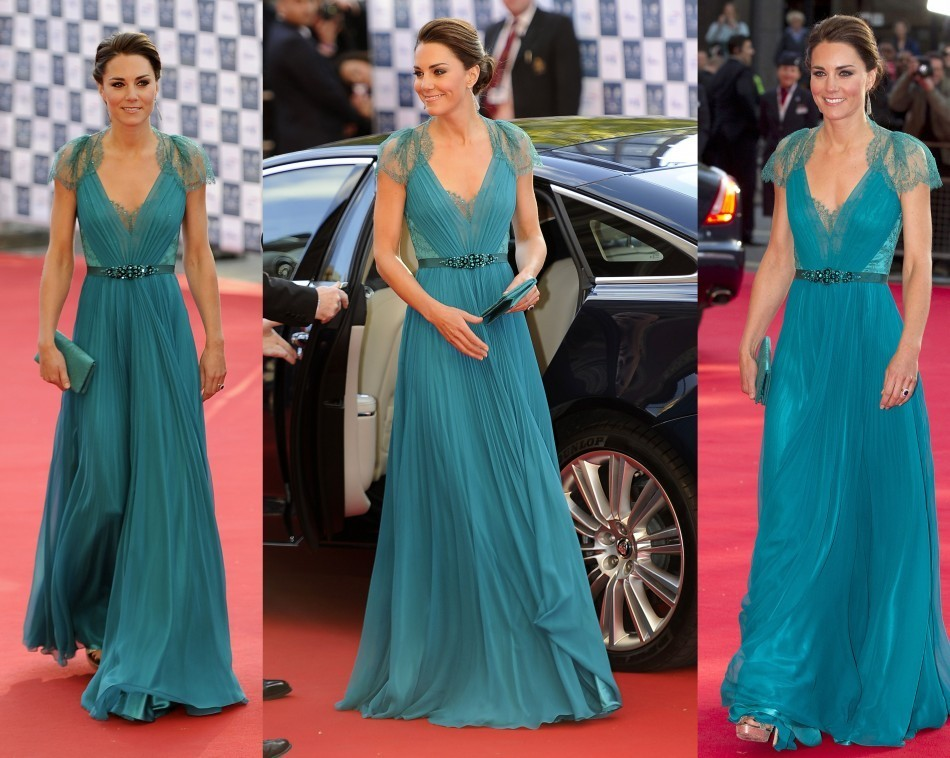 Wearing a Jenny Packham gown to a concert at the Royal Albert Hall in 2011, Kate Middleton topped Vanity Fair's best dressed list for 2012. The Duchess was as usual a head-turner as she stepped out of her car in an aqua fresh, teal dress. The floor-length dress featured netted back and shoulders and a beaded belt across the waist that gave a regal look to Kate.