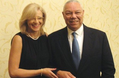 Photos of the pair together were posted on Colin Powell's Facebook page after it was hacked