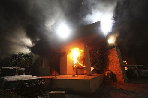 The US Consulate in Benghazi in Libya was attacked  an armed group protesting a film being produced in the United States on 11 September, 2012