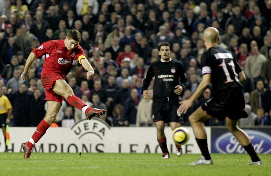 Steven Gerrard (L) Scores against Olympiakos in December 2004