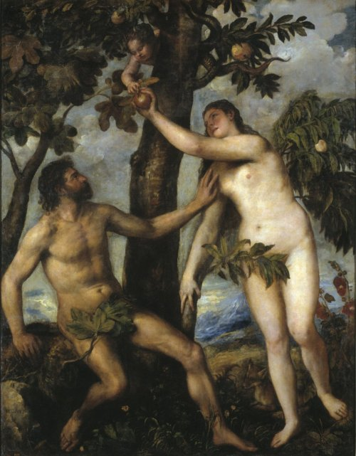 A painting by 16th century Italian painter Titian shows Adam and Eve, believed to be the first man and woman on Earth, in the Garden of Eden. A new study claims that Adam and Eve lived apart and probably didn't know each other. (Photo: Wikimedia Commons)