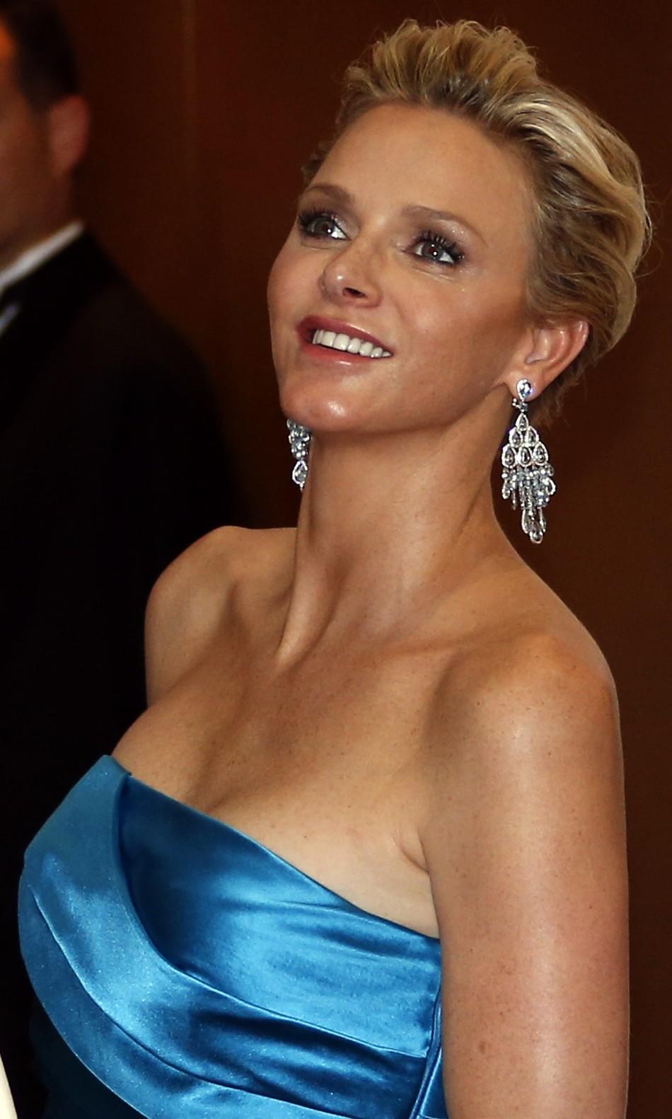 Monaco S Princess Charlene Shines In Satin Blue At Red