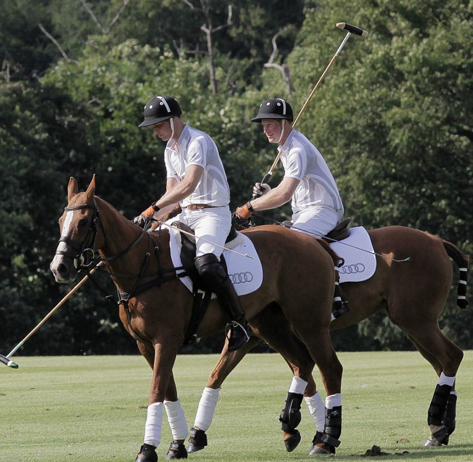 Prince Harry R and Prince William prepare to compete in a charity polo match at Coworth Park, southern England August 3, 2013.